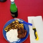 Another great camp meal.  Sirloin steak, grilled zucchini, and cottage cheese.