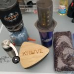 One simply must have top-notch coffee while camping.  Here you can see my Porlex hand grinder, Kruve coffee sifter, AeroPress, JetBoil, coffee cup, and, last but not least, home-roasted coffee beans.  There simply is no better way to start the day.
