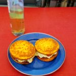 A person eating grain-free can still enjoy a great hamburger.  Here I'm trying out Outer Aisle's Cauliflower Sandwich Thins on a couple hamburgers.  I must say, they work pretty well and taste great as a bun replacement.